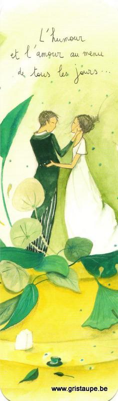 Marque-page d'Anne-Sophie Rutsaert représentant des jeunes mariés