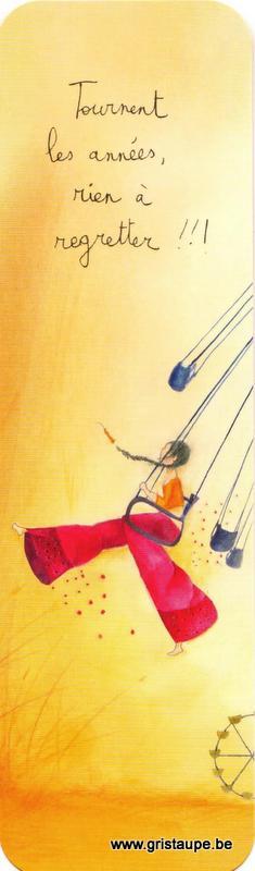 Marque-page d'Anne-Sophie Rutsaert repésentant une dame sur une balançoire