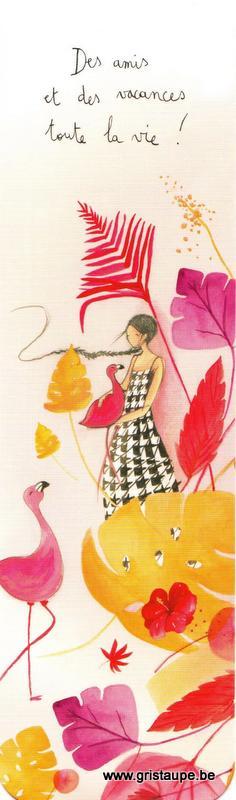Marque-page d'Anne-Sophie Rutsaert avec des fleurs, des flamants roses et une dame