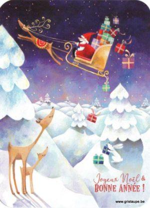 Carte de voeux d'Aurélie Blanz représentant le Père Noël dans son traîneau