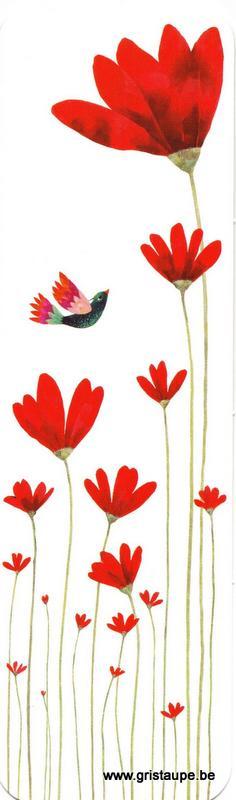 Marque-page illustré par Aurélie Blanz représentant des fleurs rouges