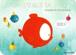 Carte d'anniversaire humoristique de Barbara Formosa représentant un poisson rouge