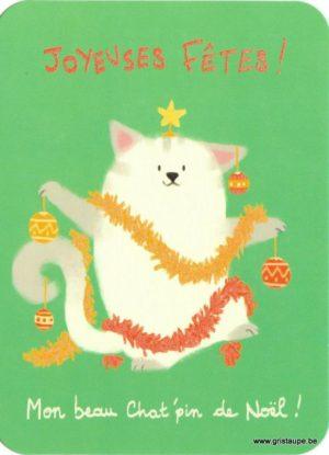 Carte de voeux de Noël humoristique représentant un chat