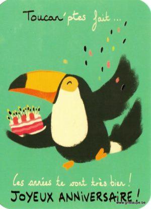 Carte d'anniversaire humoristique de Camille Chaussy représentant un toucan et un gâteau d'anniversaire