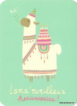carte postale illustrée par camille chaussy lama'rveilleux anniversaire