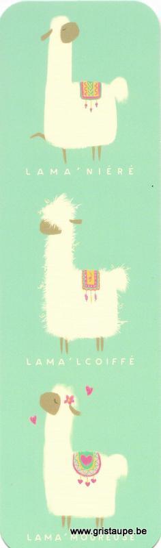 Marque-page humoristique de Camille Chaussy représentant des lamas