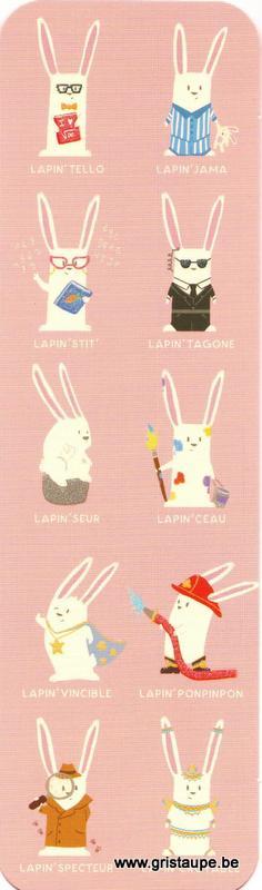 Marque-page humoristique de Camille Chaussy représentant des lapins