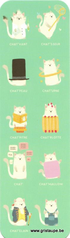 Marque-page humoristique de Camille Chaussy représentant des chats