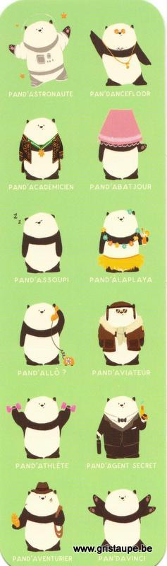 Marque-page humoristique de Camille Chaussy représentant des pandas