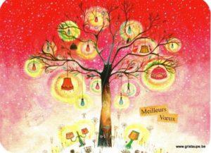 Carte de voeux de Jehanne Weyman représentant un arbre avec des lanternes