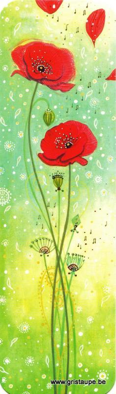Marque-page de Jehanne Weyman représentant des coquelicots