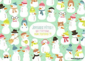 Carte de voeux humoristique de Lali avec des bonhommes de neige