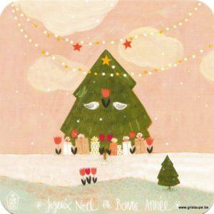 Carte de voeux des Mamouchkas représentant un sapin de Noël dans la nature