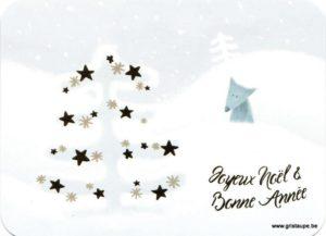Carte de voeux de Lilit Altunyan avec un loup et de la neige