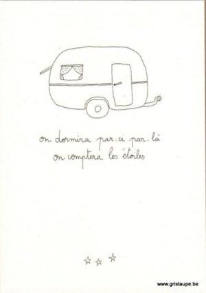 carte postale double illustrée par papillonnage représentant une caravane