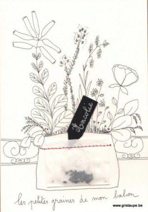 carte postale double illustrée par Papillonnage représentant un bouquet de fleurs et des graines d'ancolie dans un petit sachet cousu