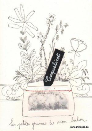 carte postale double illustrée par papillonnage représentant un bouquet de fleurs avec un petit sachet cousu contenant des graines de coquelicot