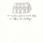 carte postale double illustrée par papillonnage représentant des cabines de plage et des coquillages