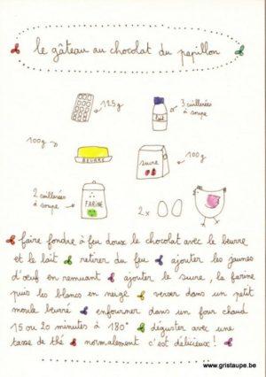 carte postale double illustrée par papillonnage et représentant la recette du gateau au chocolat