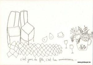 carte postale illustrée par papillonnage et représentant une table de fête