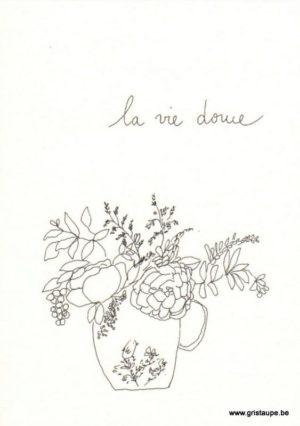 carte postale double illustrée par papillonnage représentant un bouquet de fleur