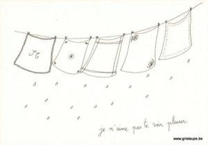 cartes postales illustrée par papillonnage et représentant des mouchoirs qui sechent