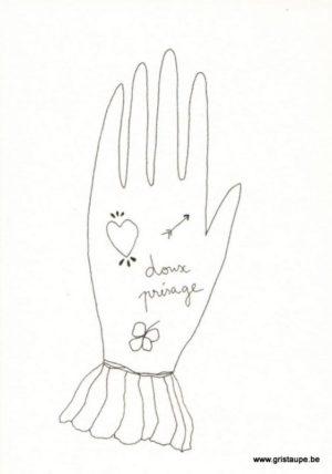 carte postale double illustrée par papillonnage et illustrant une main