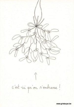 carte postale double illustrée par papillonnage et représentant un bouquet de gui