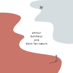 carte postale illustrée par perrine dessine amour bonheur joie dans les coeurs