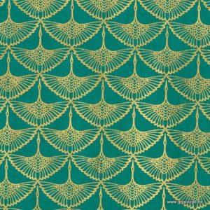 papier de lokta fabriqué à la main au Népal représentant des grues sur fond turquoise