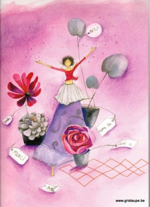 carte postale grand format illustrée par anne sophie Rutsaert merci