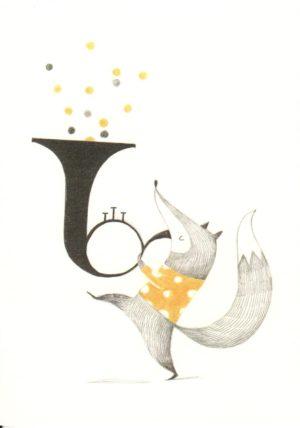 carte postale illustrée et éditée par aline tekent représentant un renard jouant du trombone