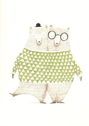carte postale illustrée et éditée par aline tekent représentant deux ours dans un pull