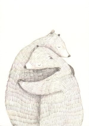 carte postale illustrée et éditée par aline tekent représentant deuxours se faisant un calin