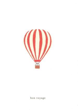 carte postale double illustrée et éditée par kartotek copenhagen bon voyage hot air balloon