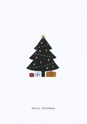 carte postale double illustrée et éditée par kartotek copenhagen merry christmas tree