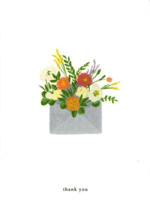 carte postale double illustrée et éditée par kartotek copenhagen thank you flower envelope